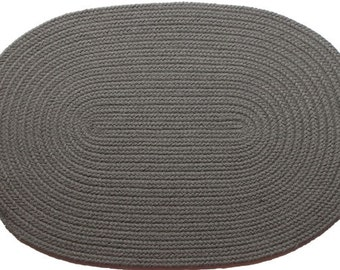 Solid Gray Braided Rug