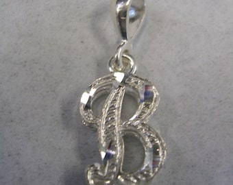 Letter B initial pendant charm in sterling silver