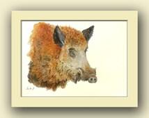 Wild boar animal - boar pig hog - forest hunt  animal decor -animal life wall art- pig wild boar - Original watercolor painting- Juan Bosco