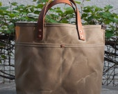 Waxed Canvas Tote Bag - FREE Standard Shipping in US - Sage - Leather Handles - Copper Rivets - Unisex - Made in USA
