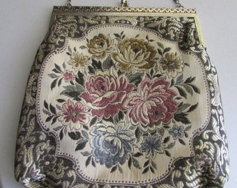 JUST REDUCED Vintage 1960's Floral Tapestry Bag Purse On Sale
