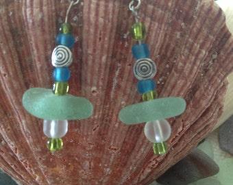 Sea Glass Earrings Ocean Blue Mazatlan Mexico