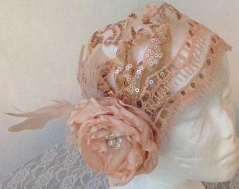 Skylar; Juliet bridal cap, bridal cap veil, roaring 20's, cap, boho bridal cap, bohemian bride