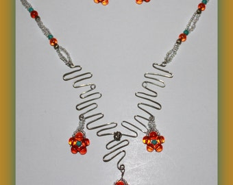 Handmade Unique wire wrapped Daisy flowers necklace set