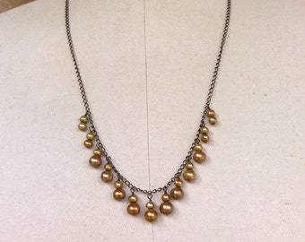 necklace with caramel colored freshwater pearls