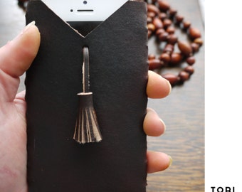 Tassel iPhone case, leather phone case, iPhone 5/5s/6/6 plus case, brown leather phone pouch, mobile wallet, iPhone sleeve.  Handmade in UK