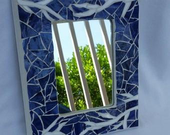 White Branch Mosaic Mirror with Purple Background