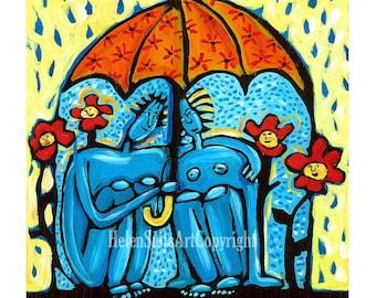 Folk Art Print, 8x10 print, Rainy Day, Flowers, Love, Boy & Girl, Umbrella, Orange, Blue, Yellow, Wall decor, FREE SHIPPING