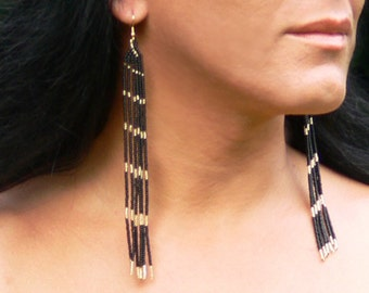 Black and Gold Earrings. Extra Long Earrings. Shoulder Duster Earrings. Very Long Fringe Earrings. Beadwork.