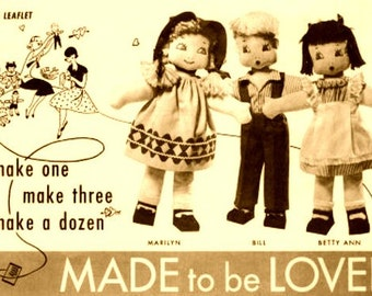 50's Vintage Sewing Pattern to make 6 Stuffed Plush Soft Body Boy Girl Rag Dolls with Outfits by A PDF for Immediate Digital Download