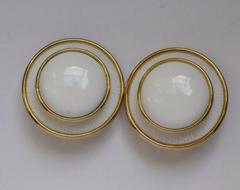 Large white button costume earrings, white and gold costume earrings. Designer clip on earrings, designer earclips