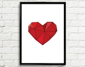 "Modern Art Poster 073 ""Red Abstract Heart"" - Inspirational Print Poster Abstract Wall Art Modern Poster Printable Art Home Decor Wall Art"