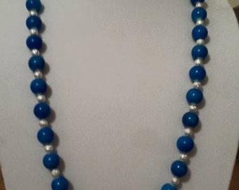 Blue Necklace - Silver Necklace - Women's Blue Necklace - Long Blue Necklace - Large Blue Necklace - Women's Jewelry - Jewelry Set - Blue