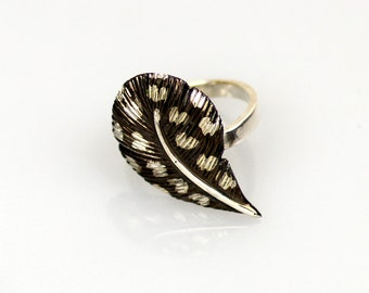 CHIKA Guinea fowl - silver ring - quad is rhodium-plated