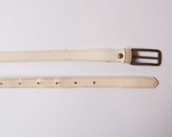 Off white thin belt, waist belt, silver color buckle, 106 cm / 41.7 inch, polyethurane