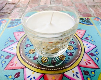 Soy candles, vintage glass, candles