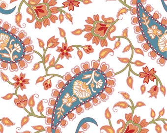 Orange and Blue Paisley Pattern Downloadable Print - Wall Art - Instant Download