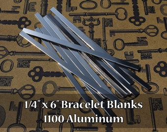 50 - 1100 Aluminum 1/4 in. x 6 in. Bracelet Cuff Blanks - Polished Metal Stamping Blanks - 14G 1100 Aluminum - Flat
