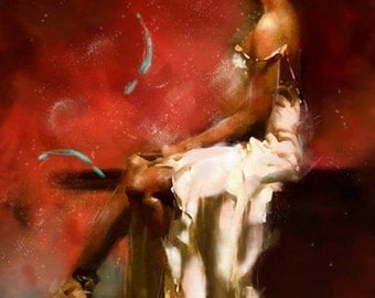 Oil Painting Erotic Woman Red Passion Contemporary Fine Art By Chris Art - Custom Made - Size:24X32In