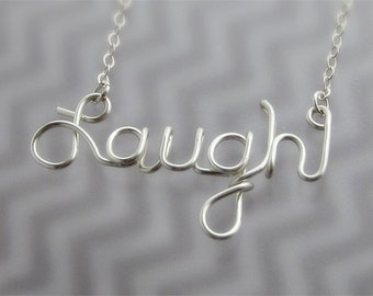 Laugh Wire Word Pendant Necklace