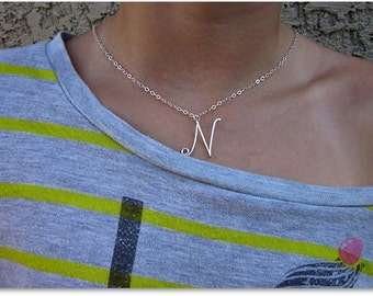 Initial N Wire Word Pendant Necklace Cursive