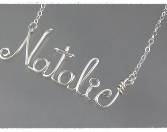 Natalie Wire Word Name Pendant Necklace