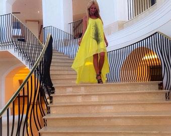 UNIQUE Hand Painted Dress/Asymmetrical Dress/Coloured Tunic Dress/ Oversized Dress/Caftan dress/ Party Dress/ Maxi Dress/Designed by PARADOX