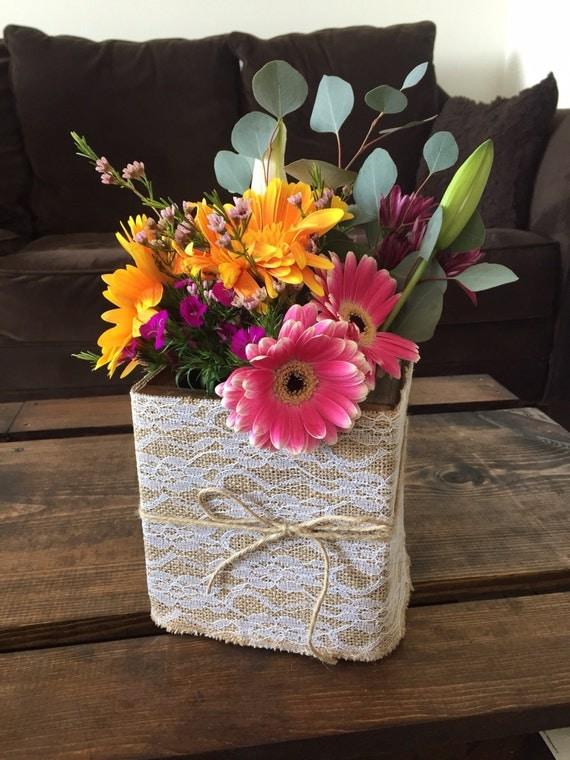 Items similar to burlap and lace wood flower box wedding