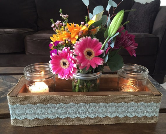 Items similar to wood box and burlap centerpiece rustic