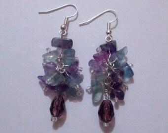 Violet/Teal cluster Earrings