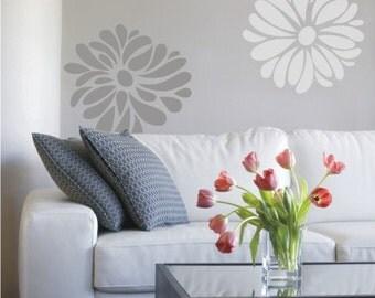 VINYL flower blossoms jumbo set of 6 wall decals