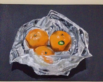 original painting, acrylic painting, painting of oranges, still life painting, 11x14 canvas, bradley pearson