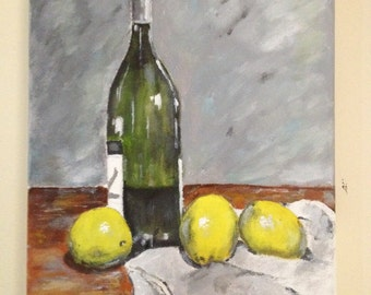 Original acrylic painting, still life painting,  painting of lemons, 11x14 canvas, australian artist