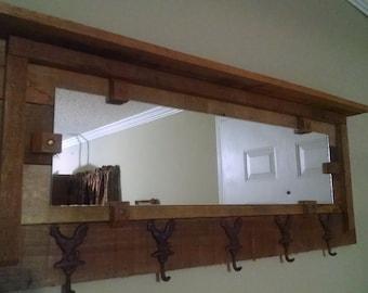 Pallet wood coat rack with mirror