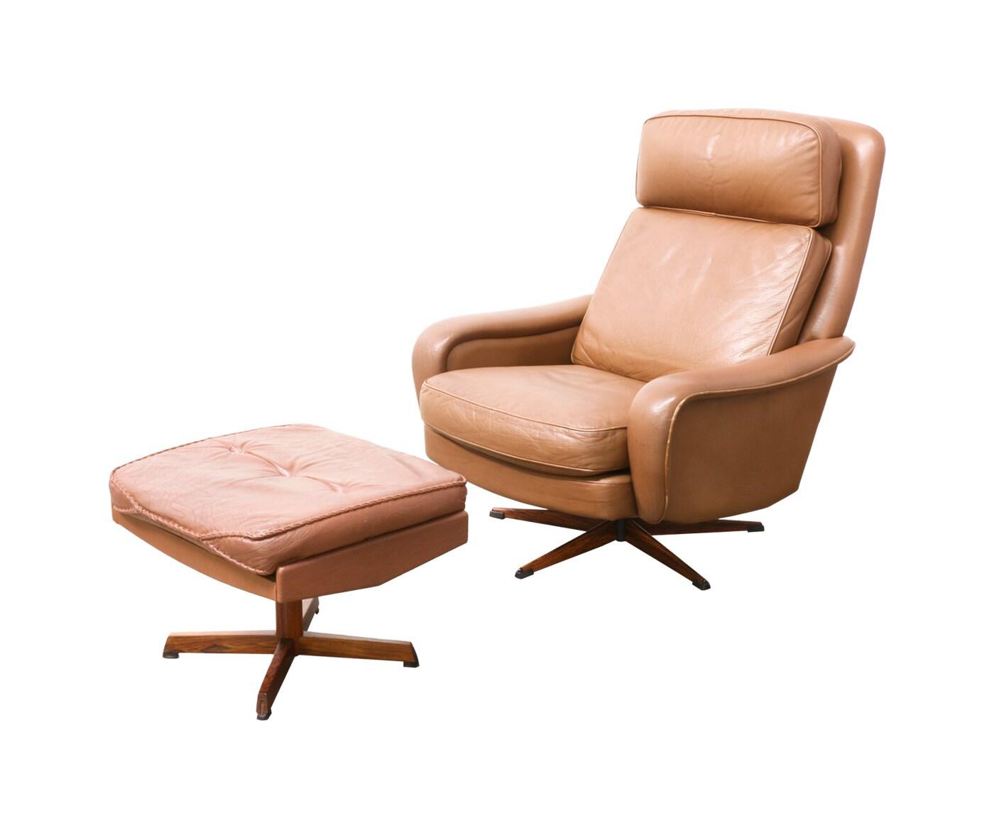Danish Modern Leather Lounge Chair with Ottoman by DanishModernLA