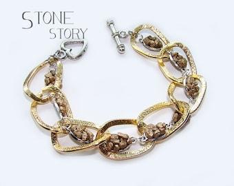 gold plated bracelet mosaic handmade art