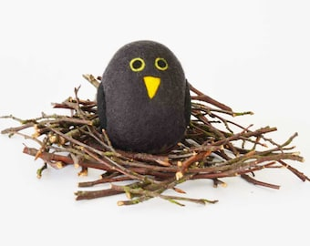 Felted Blackbird - filled with cinnamon and cloves.  Aromatic Animals