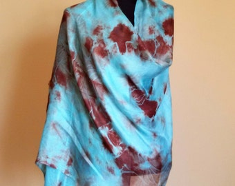 Hand Painted Silk Scarf, Light Blue and Brown Silk Summer Scarf, Silk Scarves,  1/1