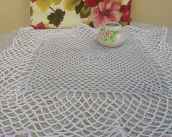 Hand Crochet Large Doily  ~  Vintage Cotton in Cream and Pastel Pink
