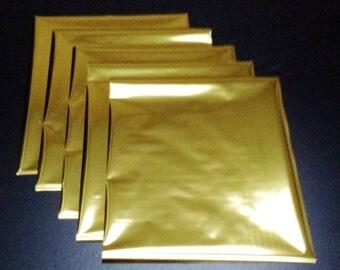 5 Sheets Shiny Gold Heat Toner Laser Foil - 8 x 10 inches - Toner Transfer, Reactive Foil, Fusing Foil, Foiling, Laser Foil, Minc