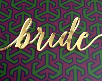 Gold Acrylic Custom Calligraphy Place Cards, Laser Cut 3D