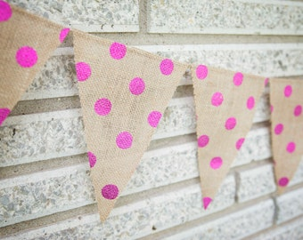 Burlap Pendant Banner With Pink Dots, Photo Prop, Wedding Banner, Birthday Party, Holiday, Burlap, Children's Room, Bunting