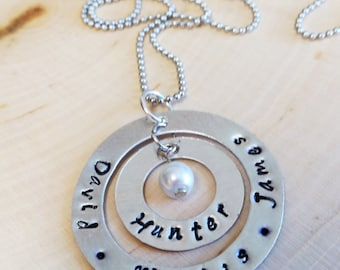 Custom Stamped Necklace with Kid's/Grandkid's/Etc. Names
