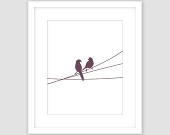 Birds on a Wire Print, White and Eggplant Purple, Animal Wall Art, Modern Art, Instant Download, DIY, Printable