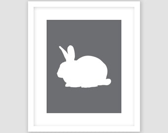 White Rabbit Silhouette on Slate Dark Gray Print, Animal Wall Art, Modern Art, Instant Download, DIY, Printable