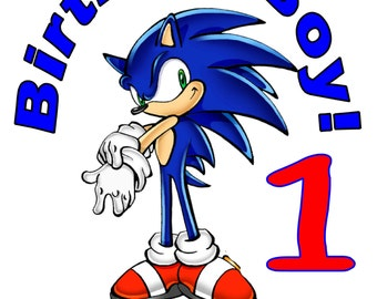 Sonic the Hedgehog Personalized Birthday Party T Shirt Tee Boys Girls 1st 2 3 4 5 6 7 8 9
