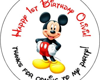 12 Mickey Mouse Theme Birthday Party Stickers 2.5 inch Round Personalized kids