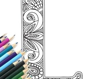 "Adult Colouring Page Alphabet Letter ""L"""