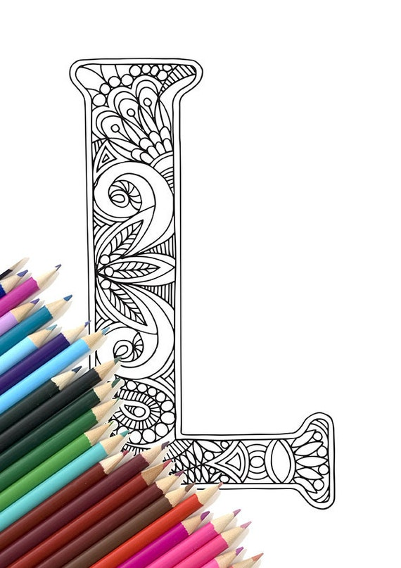 Adult Colouring Page Alphabet Letter L