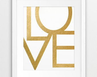 Love Print, Love Typography Wall Art,  Love Word Gold Foil Texture, Modern Wall Art, Nursery, Home Office Decor, Printable Art, Downloadable